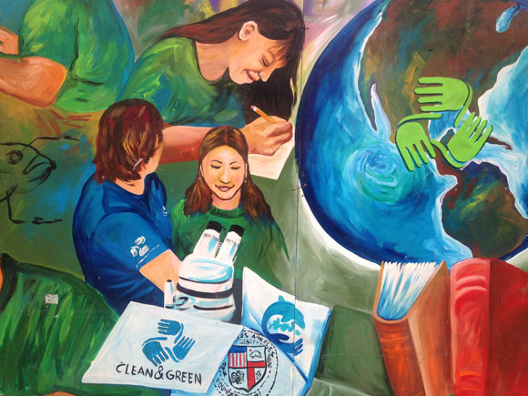 At Saito High School—a charter school created by a partnership between LACC and the LA Education Corps—small class sizes and hands-on instruction create caring relationships between Corps members and teachers. This mural can be found at the East LA campus, one of two that each serves between 100 and 130 students.