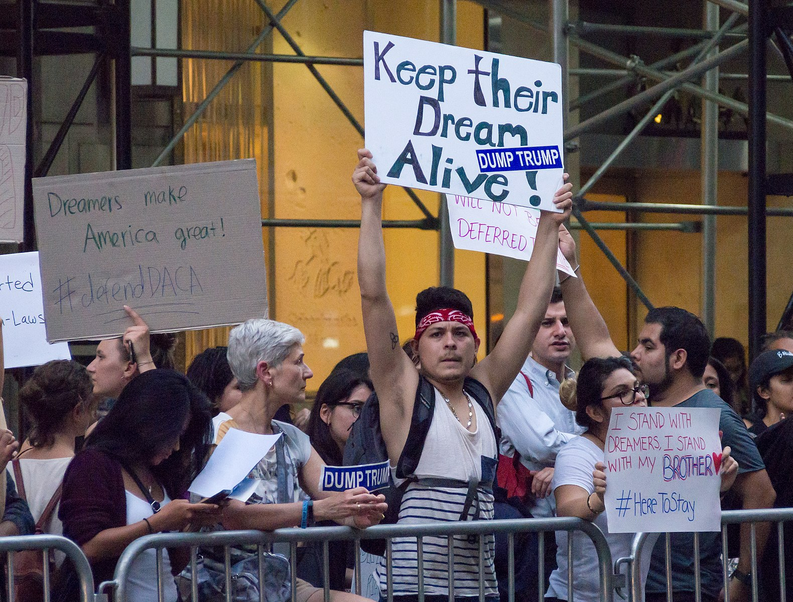 Protesters gather in support of DACA at Trump Tower in New York City. Photo credit: Rhododendrites, Wikimedia Commons.