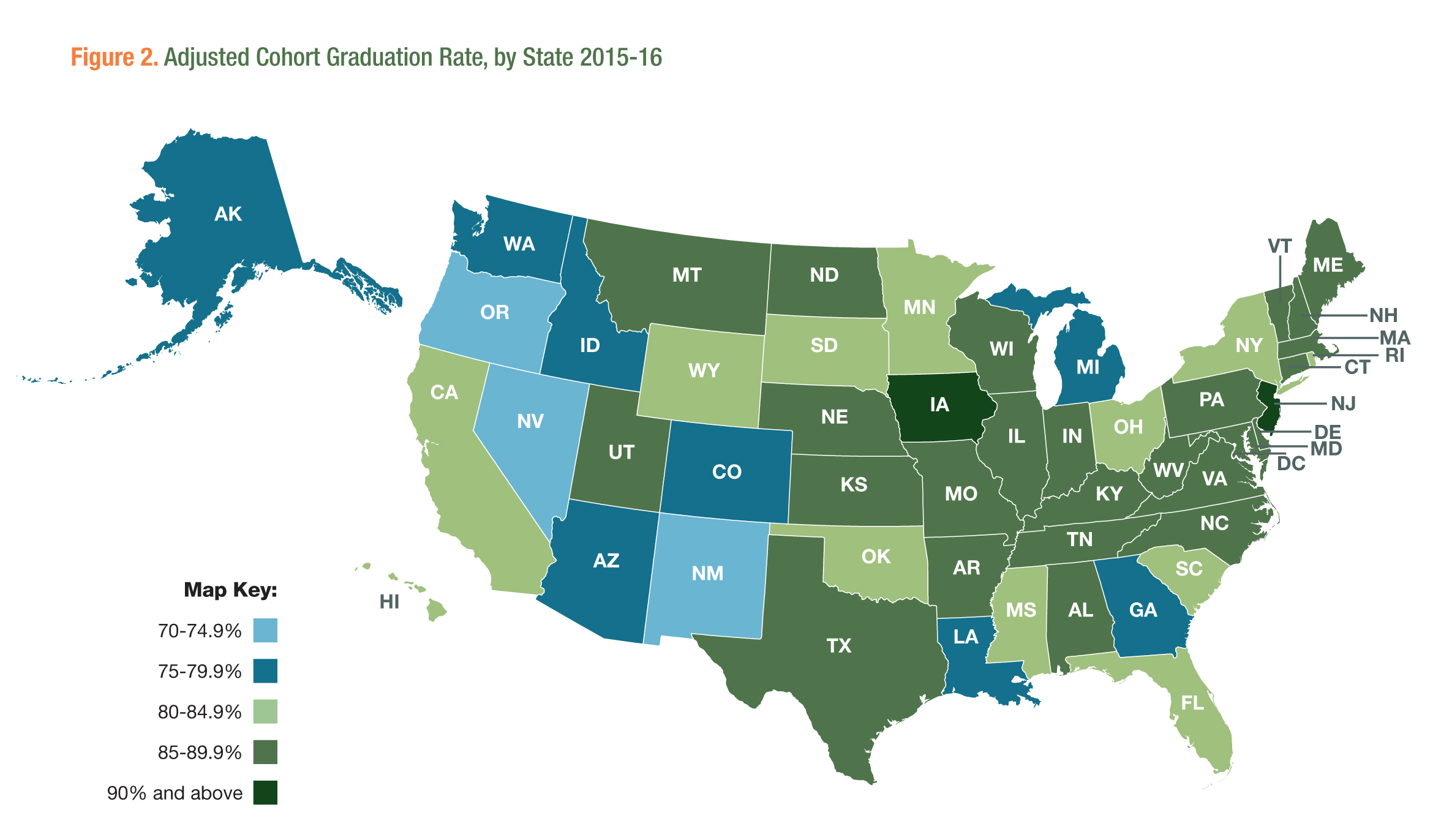 Adjusted Cohort Graduation Rate by State 2015-16