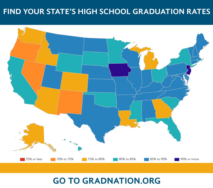 Find your state's high school graduation rates on gradnation.americaspromise.org