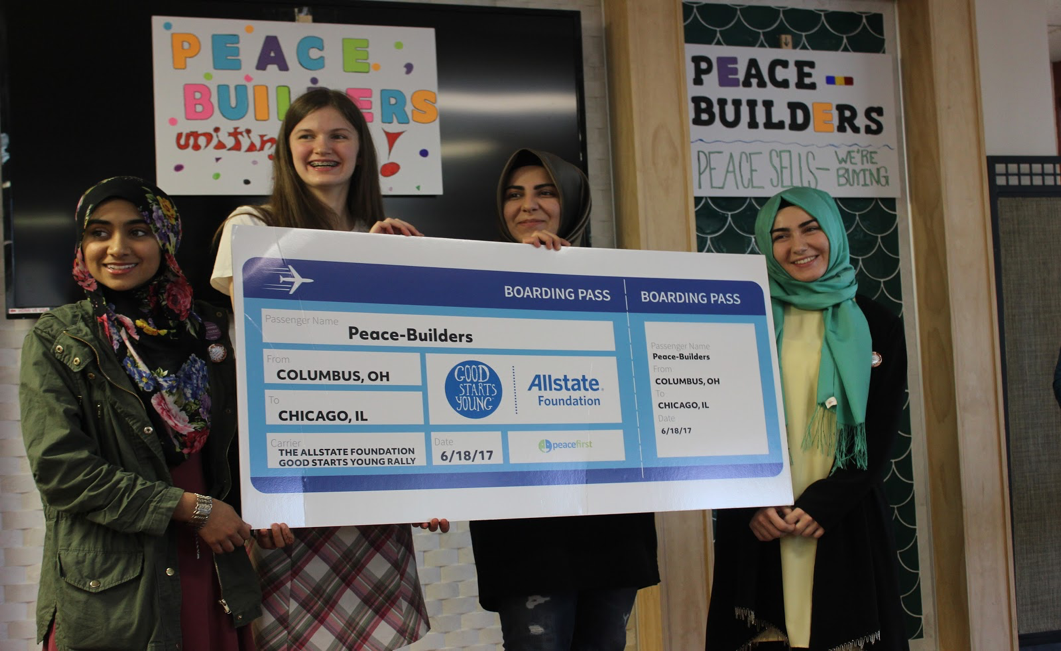 The Peace-Builders team after winning a spot to participate in Peace First Challenge Accelerator, The Allstate Foundation Good Starts Young Rally.