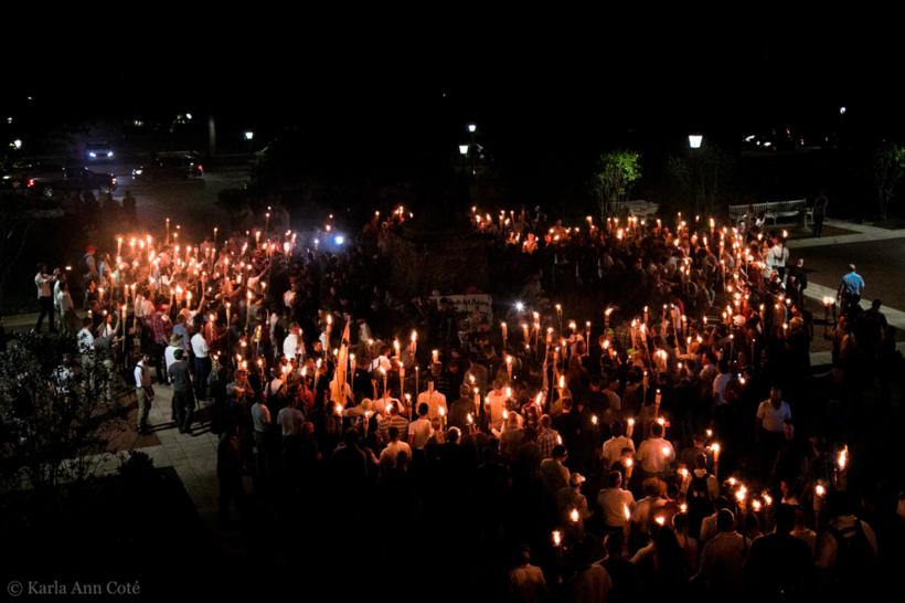 Hundreds of white supremacists gather at a rally in Charlottesville to protest the removal of a confederate statue. Photo credit: Karla Cote.