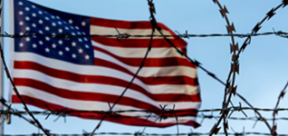 US Flag with barbed wire