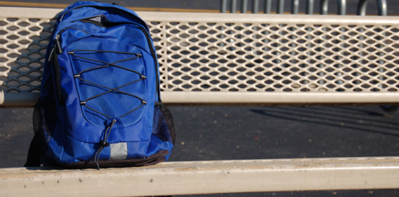 Backpack on bench