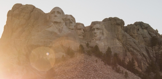 Rushmore at sunset